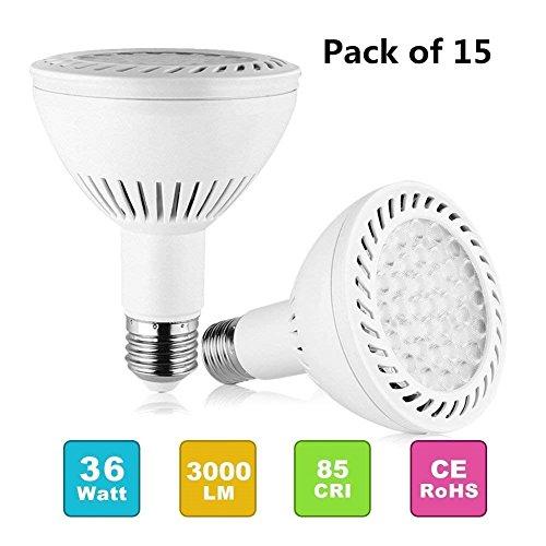PAR30 Spotlight Light LED Bulbs Long Neck E26 E27 Base 35W 3500LM 25°Beam Angle Daylight White LED Flood Light Bulbs 350W Halogen Equivalent for Living Room (Pack of 15) (Bulb Case Pack 15)