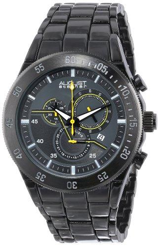 August Steiner Men's AS8083BK Swiss Quartz Chronograph Gun Bracelet Watch