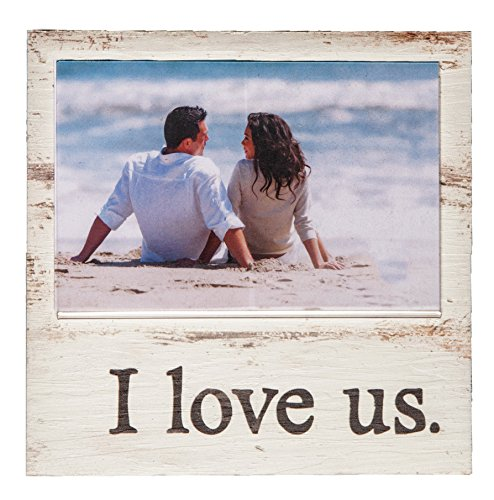 I Love Us Whitewash 7 x 7 Wood Box Wall Photo Frame Plaque by P Graham Dunn