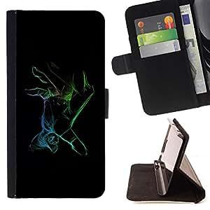 BullDog Case - FOR/Apple Iphone 6 / - / Neon Color Hand /- Monedero de cuero de la PU Llevar cubierta de la caja con el ID Credit Card Slots Flip funda de cuer