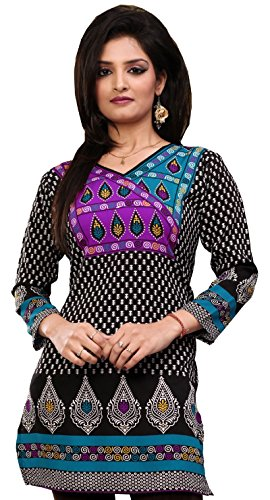 Indian Kurti Top Tunic Printed Womens Blouse India Clothes (Black, L)