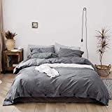Jorbest Duvet Cover Queen, Washed Cotton Duvet Cover Set - 3 Piece with Buttons, Luxury Bedding Set (Gray)