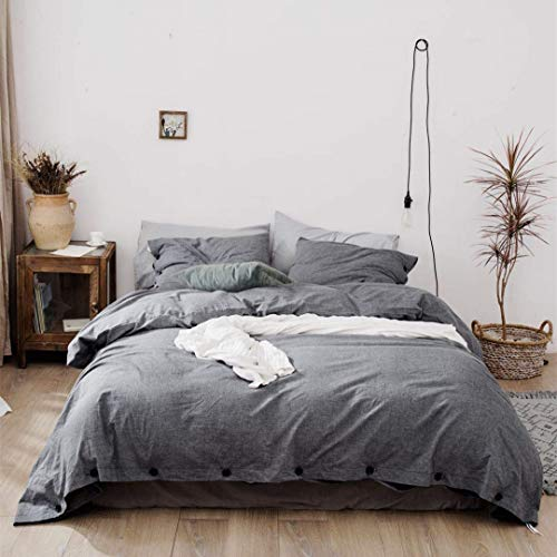 Jorbest Duvet Cover Queen, Washed Cotton Duvet Cover Set - 3 Piece with Buttons, Luxury Bedding Set (Gray) by Jorbest