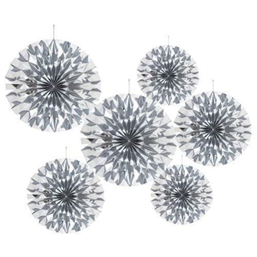 MOWO Silver Glitter Paper Fans Hanging Decoration Party Favor 6pc
