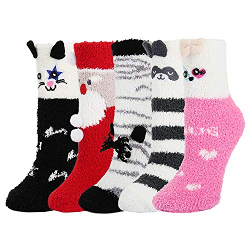 Women's Christmas Indoors Fluffy Fuzzy Slipper Socks Bear Cat Santa Claus (Best Indoor Family Dog)