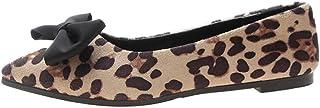 iHAZA Donna Elegante Gregge Bowknot Leopardo Superficiale Piatto Punta Scarpe