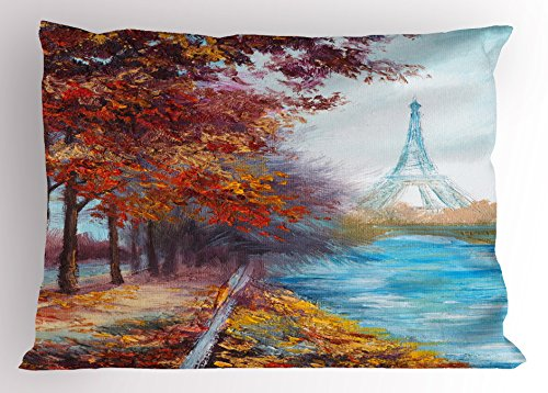 Ambesonne Art Pillow Sham, Eiffel Tower View from Seine River in Autumn Romantic Paris Day in Fall Cityscape Print, Decorative Standard King Size Printed Pillowcase, 36 X 20 inches, Multicolor
