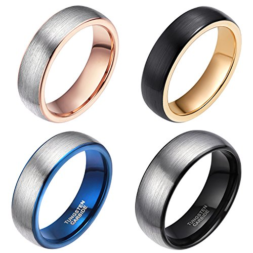 Wedding Band Tone Two Ladies (6mm Rose Gold Wedding Bands for Men Women Two Tone Brushed Tungsten Carbide Ring Comfort Fit Size 12)
