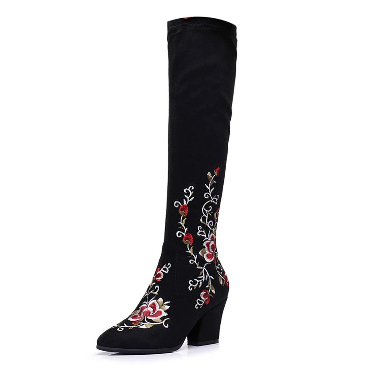 HBDLH Damenschuhe Gummi - Stiefel 6 Heels cm High Heels 6 Knie Über Stiefel Herbst Dicke Schuhe Schleifen Bestickte Stiefel Nationalen Stil Slim Vielseitig 01d882