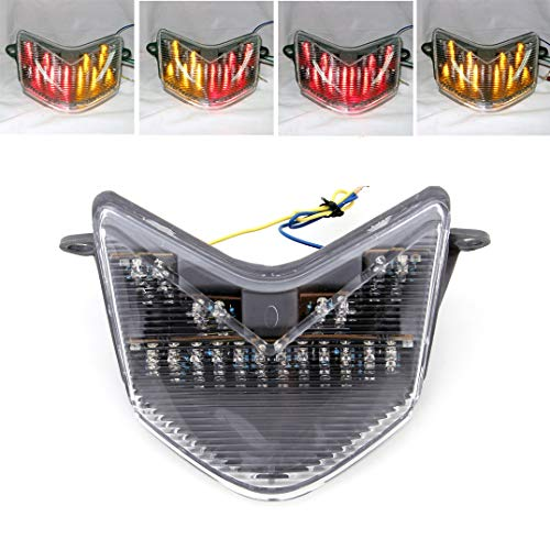 (Artudatech Motorcycle LED TailLight for Kawasaki ZX-10R 06-07 ZX-6R 636 Z 750S 05-06 Clear)