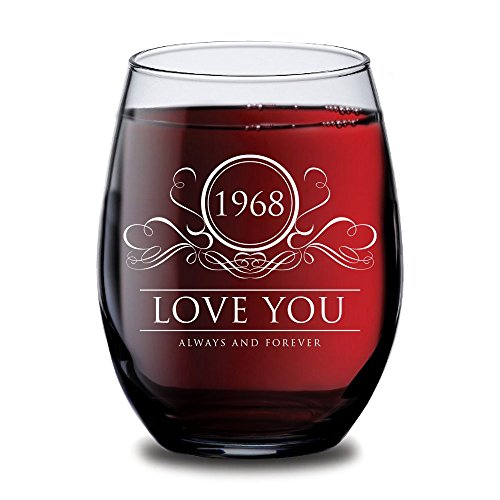 1968 Love You Always and Forever Wine Glass - 50th Wedding Anniversary Gifts for Her, Him, Couple or Parents - 15 oz Wine Glasses - Gift Ideas for Mom, Dad, (50th Anniversary Flutes)