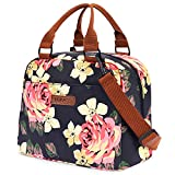 LOKASS Lunch Bag for women Insulated Lunch Tote Fashionable Cooler Bag Thermal Lunch Box with Detachable Shoulder Strap for Work/Picnic/Beach(Peony)