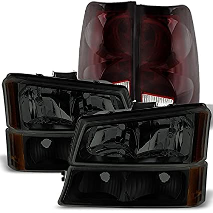 For Chevy Silverado Smoked Headlights Lamps Replacement + Red Smoke Tail  Lights Brake Lamps Combo Awesome Design