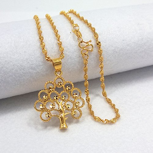 Hot Fashion Women 24K Yellow Gold Plated Necklace Tree Pendant Chain Jewelry NN.