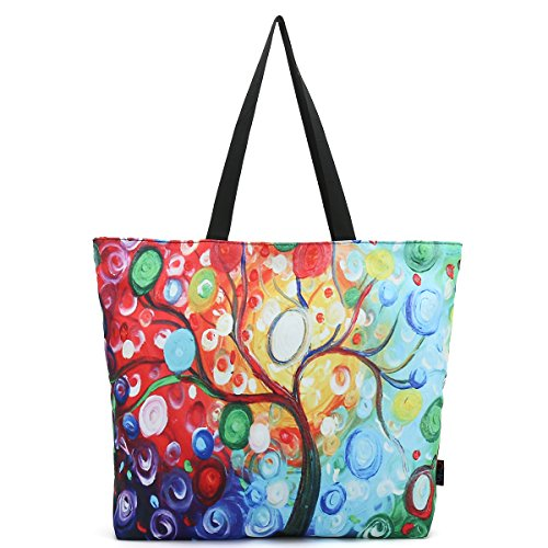 ICOLOR Colorful Tree Large Eco Reusable Eco-friendly Shopping Bag Handle case Bag School Travel Totes Bag Grocery Overnight Handbag Storage Shoppers Tote(YGWB-46)