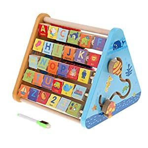 MagiDeal 5 in 1 Multi-Function Activity Center Wooden Alphabet Abacus Blocks Learning Clock, Kids Baby Early Developmental Toy