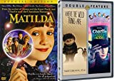 Charlie and the Chocolate Factory Tim Burton & Where the Wild Things Are +Matilda DVD Set / Classic Family Movie Bundle Triple Feature