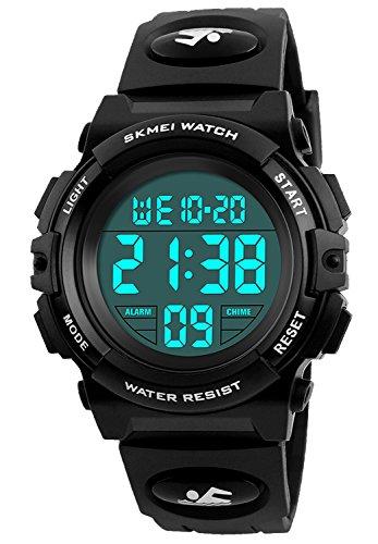 Kid Watch 50M Waterproof Sport LED Alarm Stopwatch Digital Child Wristwatch for Boy Girl Black
