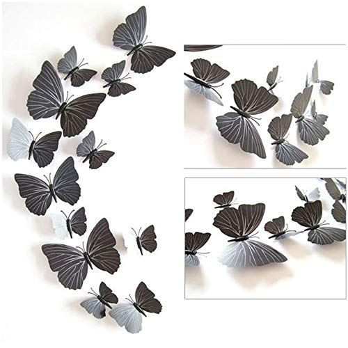 (Wall Sticker 3D Butterfly Sticker Art Wall Mural Door Decals Home Decor Nursery Room Decor Decals 12pcs (Black,)