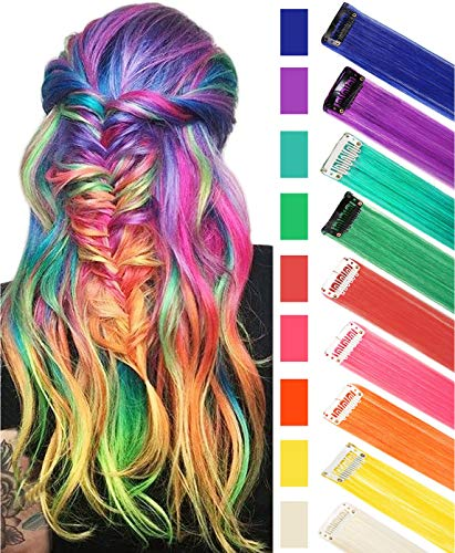 RYH 20'' 9 PCS Colored Party Highlights Clip on in Hair Extensions Multi-Colors Hair Streak Synthetic Hairpieces (Rainbow Color)