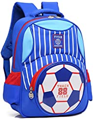 School Backpack for Boys Football Print Bookbag Kid Child Backpack School Bag (Blue)