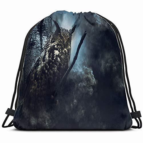 Eagle Owl Fog Animals Wildlife Drawstring Backpack Sports Gym Bag For Women Men Children Large Size With Zipper And Water Bottle Mesh Pockets ()