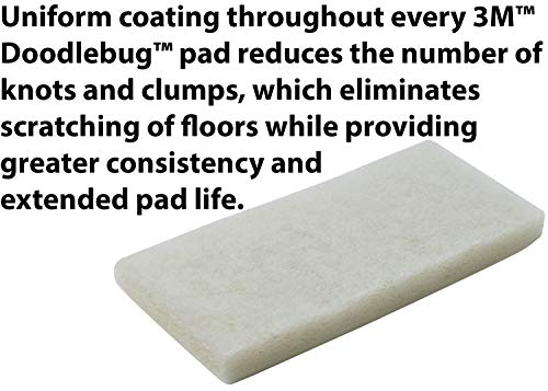 3M Doodlebug Utility Pad, 4-5/8 in x 10 in., White, 5 Pads/Box, 4 Boxes/Case, Buffs and Cleans Glass, Ceramic Tile, Fiberglass, Floors, Swimming Pools