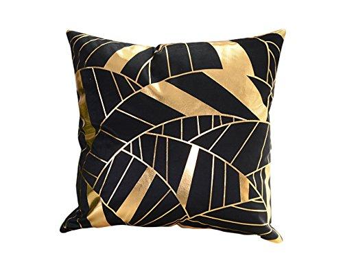 (Molotu Throw Pillow Case Cover Black Background Gold Design Cushion Throw Cases (18