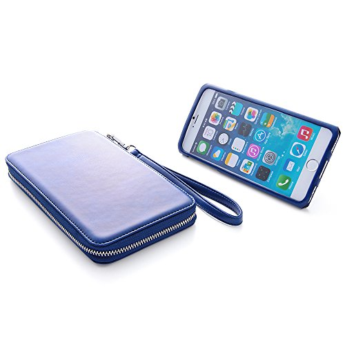 Colorful Strap with Leather Pouch Case for iPhone 6 Plus (Navy)