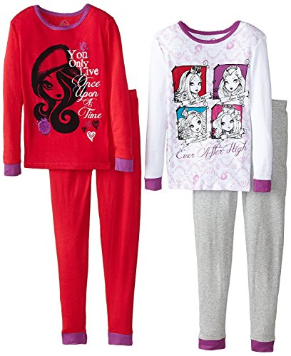 Characters Of Ever After High (Ever After High Big Girls' Character 4-Piece Cotton Sleep Set, Multi,)