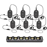 6 Pack of Motorola CLP1040 Radios with 6 Push To Talk (PTT) earpieces and a 6-Bank Radio Charger