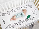 TILLYOU Monthly Milestone Microfiber Crib Sheet, Silky Soft Toddler Sheets Animals Calendar, Lovely Breathable Cozy Hypoallergenic, 28 x 52in
