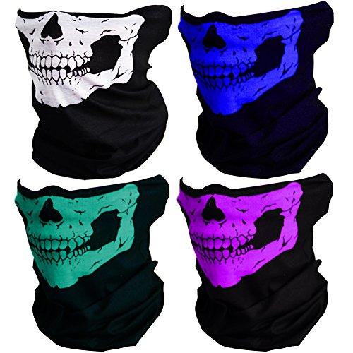 CIKIShield Couples Seamless Skull Face Tube Mask Black (4pcs-Color Set-B) -