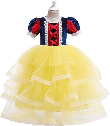 MX kingdom Vestido de Fiesta Niña,Disfraz de Blancanieves para ...