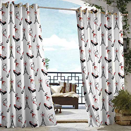 (DILITECK Outdoor Curtain Eiffel Hand Drawn Style Pattern Women Fashion Elements Shoes Lipstick Perfume Lady Waterproof Patio Door Panel W96 xL84 Ruby Black White)