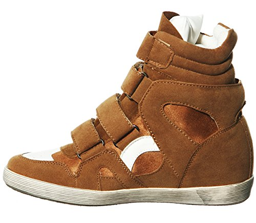 Lace Women's Fashion Pl shoewhatever Hi chestnut Wedge R Sneakers Top up w1WHTaq4