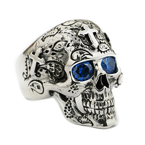 LISNION 925 Sterling Silver High Detail Skull Cross Blue CZ Eyes Mens Biker Ring TA56 (11) - Cross Sterling Silver Biker Ring