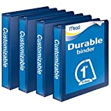 Mead Durable D-Ring View Binder, 4 unidades), Azul, 2.54cm (1'')