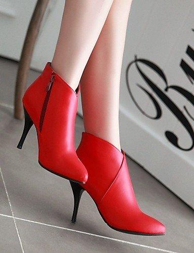 Mujer 7 Botas negro Red Y Tacón Vestido 5 Noche Fiesta Oficina De Cn37 Stiletto Eu37 5 Casual Xzz 5 Zapatos Sintético Uk4 us6 Puntiagudos Trabajo Ante EpRawq
