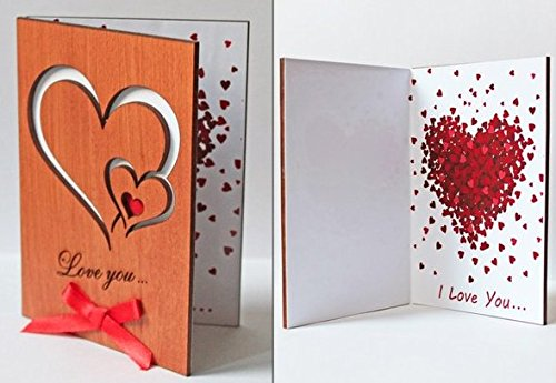 Handmade Real Wood Greeting Love Card with Hearts for Wedding Dating Anniversaries, Special Occasions and Best Happy Birthday Present for Him or Her