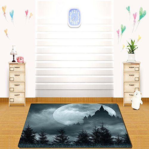HAIXIA rugs Halloween Magic Castle Silhouette over Full Moon Night Fantasy Landscape Scary Forest Decorative Grey Pale (Five Nights 4 Halloween Update)