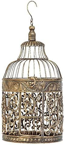Home Collection Metal Hanging Standing Bird Cage, Antique Brass, Round
