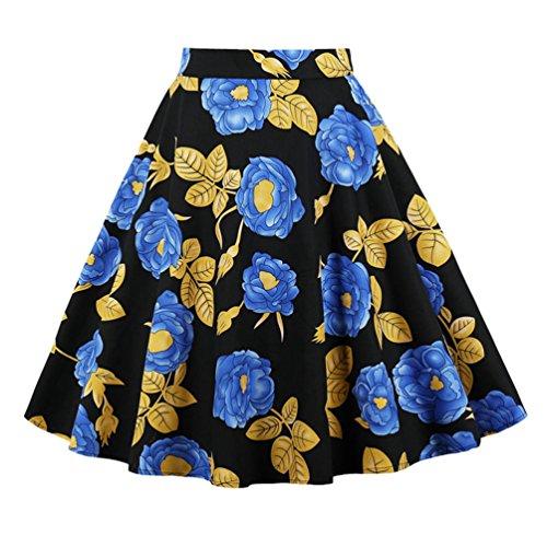 Jitong Casual A-Ligne Robe Imprime de Plage pour Femme Regular Fit Swing Jupe Plisse Streetwear Style #5