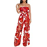 Women Sexy Banana Leaf Tropical Print Ruffle Strapless Crop Top High Waist Wide Leg Pant Two Piece Sets