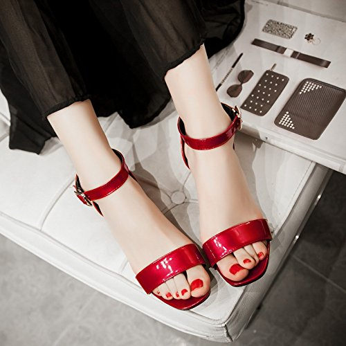 fibbia coreana sandali femminili White stile bassa fibbia a con femminili corti spessore Nuovo ZHZNVX sandali in sandali bocca con con sandali Oqp0Fwt