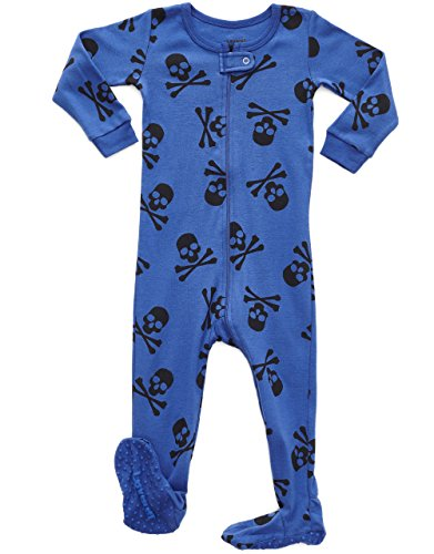 Leveret Kids Pajamas Baby Boys Girls Footed Pajamas Sleeper 100% Cotton (Size 6-12 Months-5 Toddler) (6-12 Months, Skull Blue)