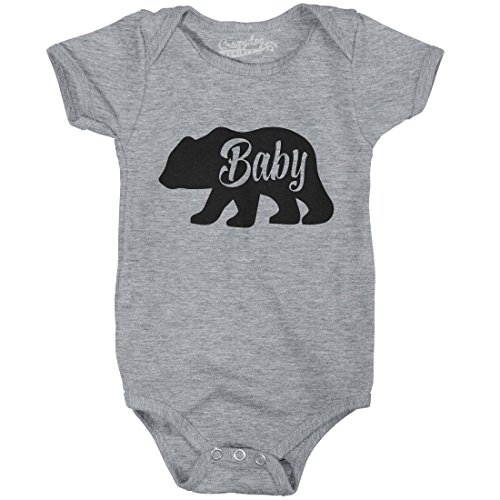 Crazy Dog T-Shirts Baby Bear Funny Infant Shirts Cute Newborn Creeper For Family Bodysuit (Grey) -6-12m