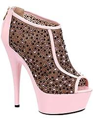 6 Inch Womens High Heel Shoes Rhinestone Bootie Platform Peep Toe Shoes