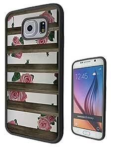 c0496 MirrorOutlet bloques - florerías rosas diseño Multi Samsung Galaxy S6 Edge cellbell negro y claro Gel silicona Carcasa todos los bordes
