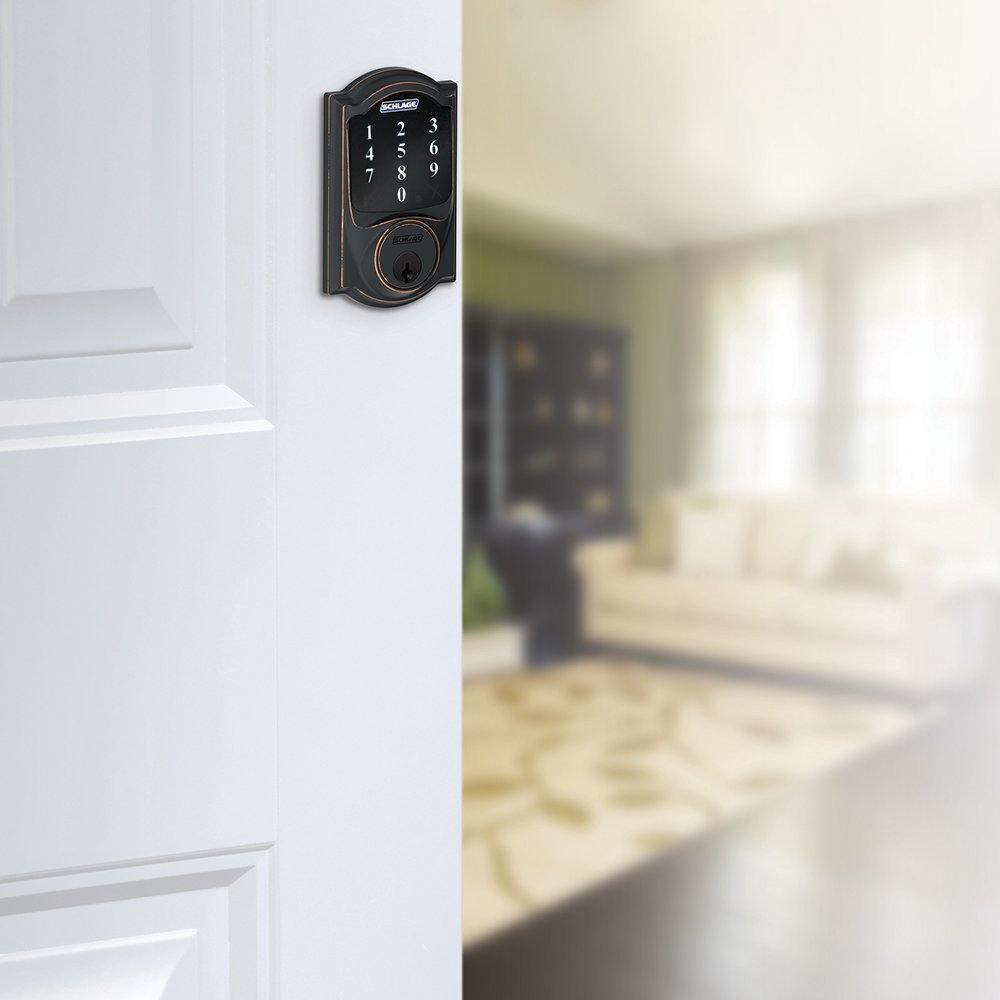 (New Model) Schlage Connect Camelot Touchscreen Deadbolt with Z-wave Technology and Extra Key BE468 (Aged Bronze) Smart Home Direct BE468CAM7162KA